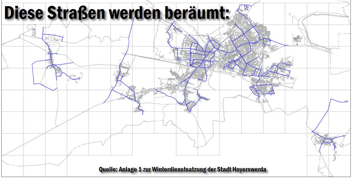 Nur die blau markierten Straßen und Wege sind im Winterdienstplan verzeichnet und müssen beräumt werden.