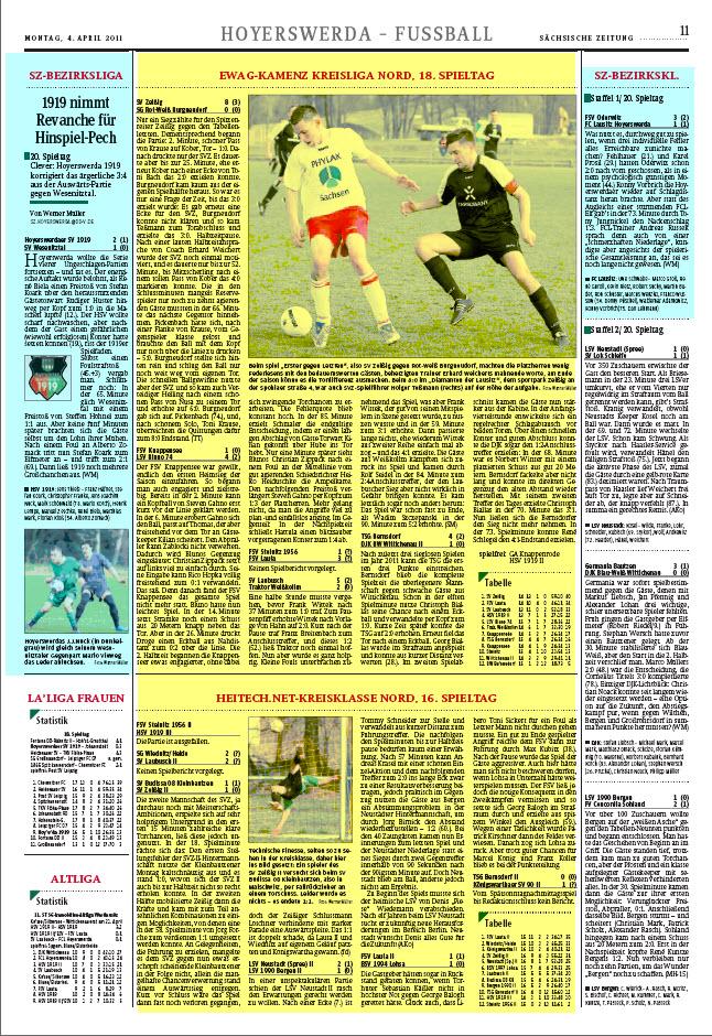 So ausgewogen und angemessen berichtete das Hoyerswerdaer Tageblatt. In gelb dargestellt der Anteil der beiden niedrigesten Spielklassen, links und rechts davon die beiden höheren Spielklassen - türkis markiert.