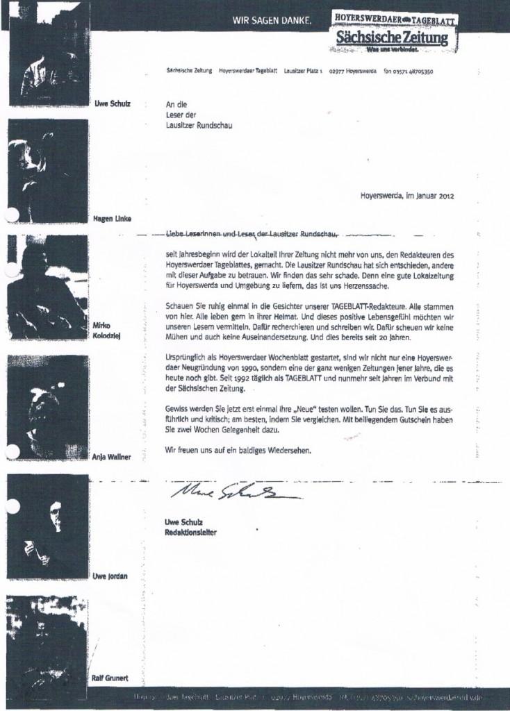Dieser Brief ist Stein des Anstoßes: Die Redaktion des Hoyerswerdaer Tageblatts schreibt an die Leser der Rundschau.