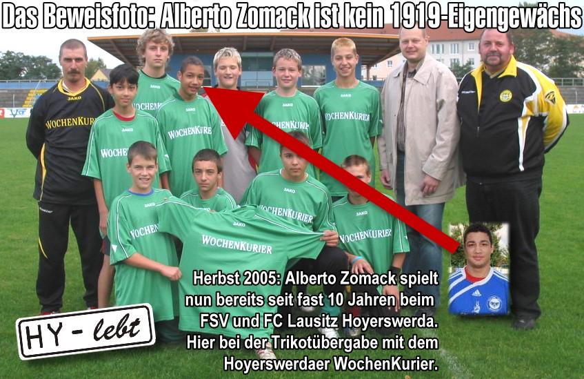 Das Beweisfoto: Alberto Zomack ist ein echtes Eigengewächs, allerdings nicht vom Hoyerswerdaer SV 1919, sondern vom FC Lausitz Hoyerswerda. Hier ein Teamfoto bei den C-Junioren.