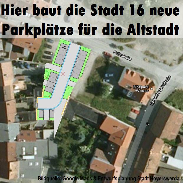 In der Grünstraße sollen nach dem Willen der Stadt im Sommer 16 neue Parkflächen entstehen, in direkter Nähe zum Marktplatz. Das wilde Parken hat damit an dieser Stelle bald ein Ende.