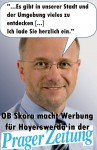 OB Skora macht Werbung für Hoyerswerda in der Prager Zeitung