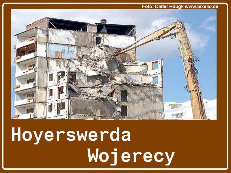 Hoyerswerda soll weitere Autobahn-Hinweisschilder bekommen. Doch was symbolisiert Hoyerswerda am Besten? So wie hier in unserer Fotomontage sollte das Schild aber nicht aussehen...