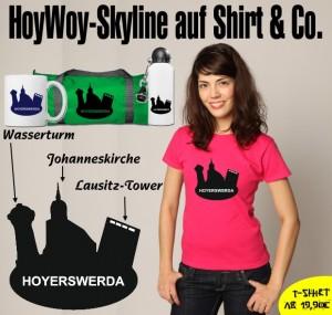 Hoyerswerda-Skyline auf T-Shirt, Kaffeepott, Sporttasche und Sportflasche