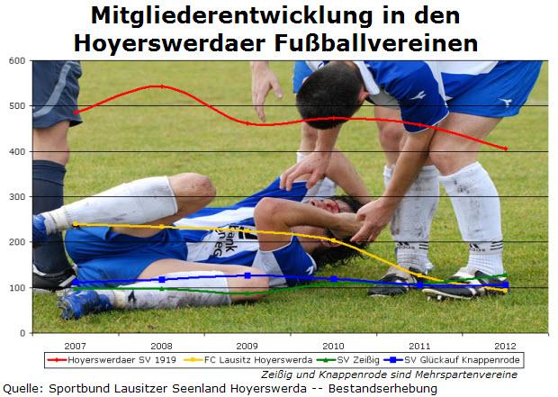 Mitgliederentwicklung der Hoyerswerdaer Fußballvereine von 2007-2012