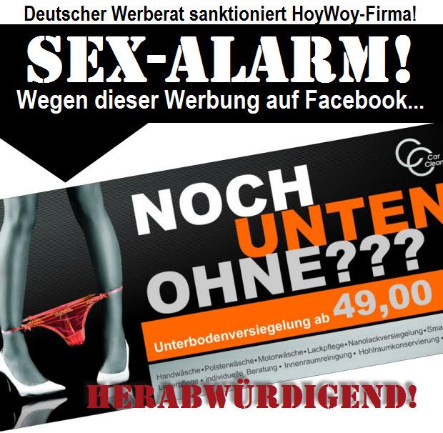 SEX-ALARM! Wegen dieser Werbung... Deutscher Weberat sanktioniert Hoyerswerdaer Unternehmen!