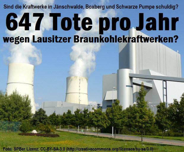 Sind die Kraftwerke in Jänschwalde, Boxberg und Spremberg schuldig? 647 Tote pro Jahr wegen Lausitzer Braunkohlekraftwerken? (Foto: SPBer Lizenz: CC-BY-SA-3.0 (http://creativecommons.org/licenses/by-sa/3.0))