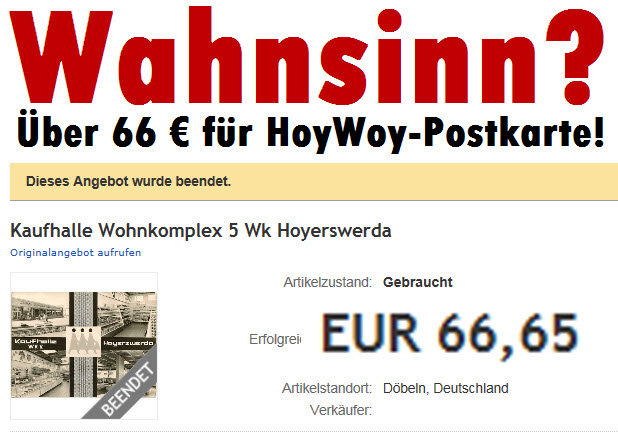 Wahnsinn? Über 66€ für eine gebrauchte Hoyerswerda-Postkarte!