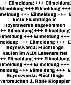 Eilmeldung: Erste Flüchtlinge in Hoyerswerda angekommen +++ Eilmeldung: Hoyerswerda: Flüchtlinge kaufen im ALDI Lebensmittel +++ Eilmeldung: Hoyerswerda: Flüchtlinge verbrauchen 1. Rolle Klopapier +++ Eilmeldung ...