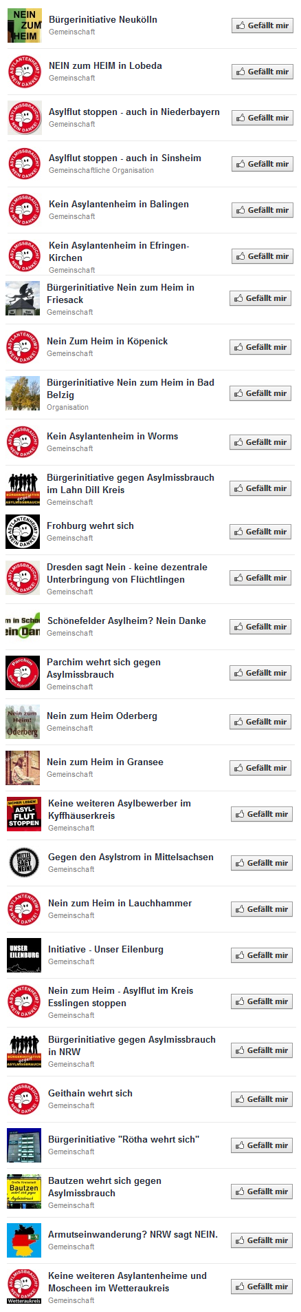 """Ein kleiner Auszug der """"Nein zum Heim""""-Seiten bei Facebook. Es gibt noch unzählige weitere."""
