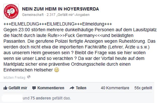 """Diese """"Eilmeldung"""" brauchte die Facebook-Seite """"Nein zum Heim in Hoyerswerda"""" am 7. Februar."""