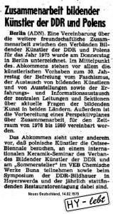 So fing 1975 alles an: Die Vereinbarung zwischen den Verbänden der bildenden Künstler der DDR und Polens macht den Anfang.