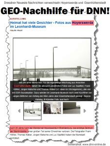 Dresdner Neueste Nachrichten verwechseln Hoyerswerda und Eisenhüttenstadt GEO-Nachhilfe für DNN!