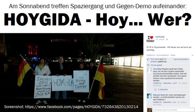 Am Sonnabend treffen Pegida-Spaziergang und Gegen-Demo in Hoyerswerda ufeinander: HOYGIDA - Hoy ... Wer???