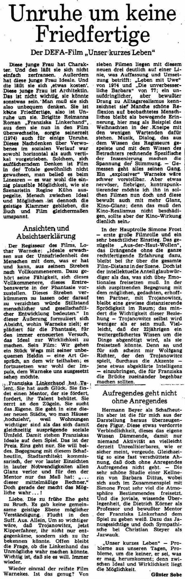 Rezension des Films in der Berliner Zeitung am 17.01.1981q